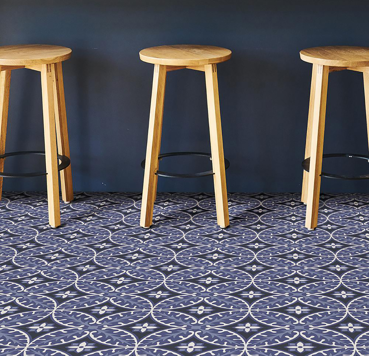 blue patterned peel and stick tile floors