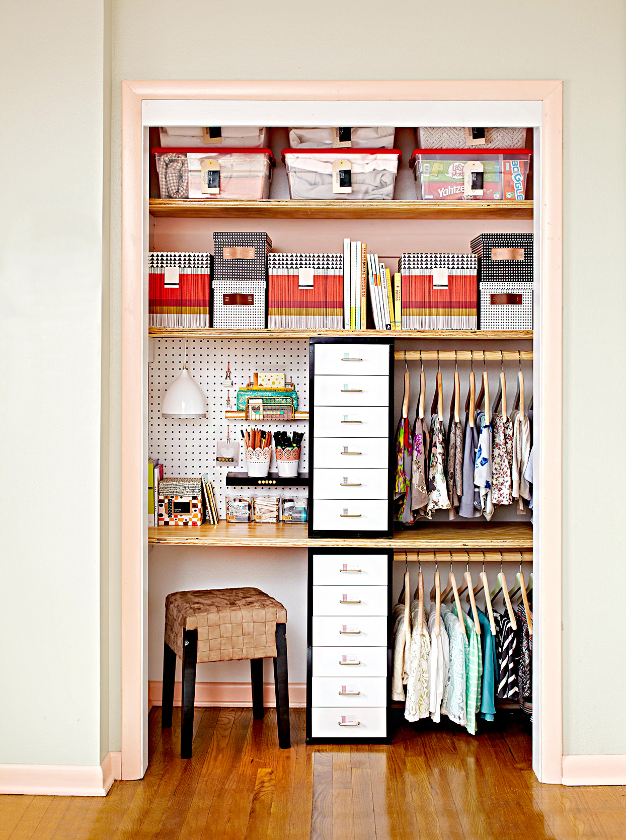 Organized closet with seating and drawers