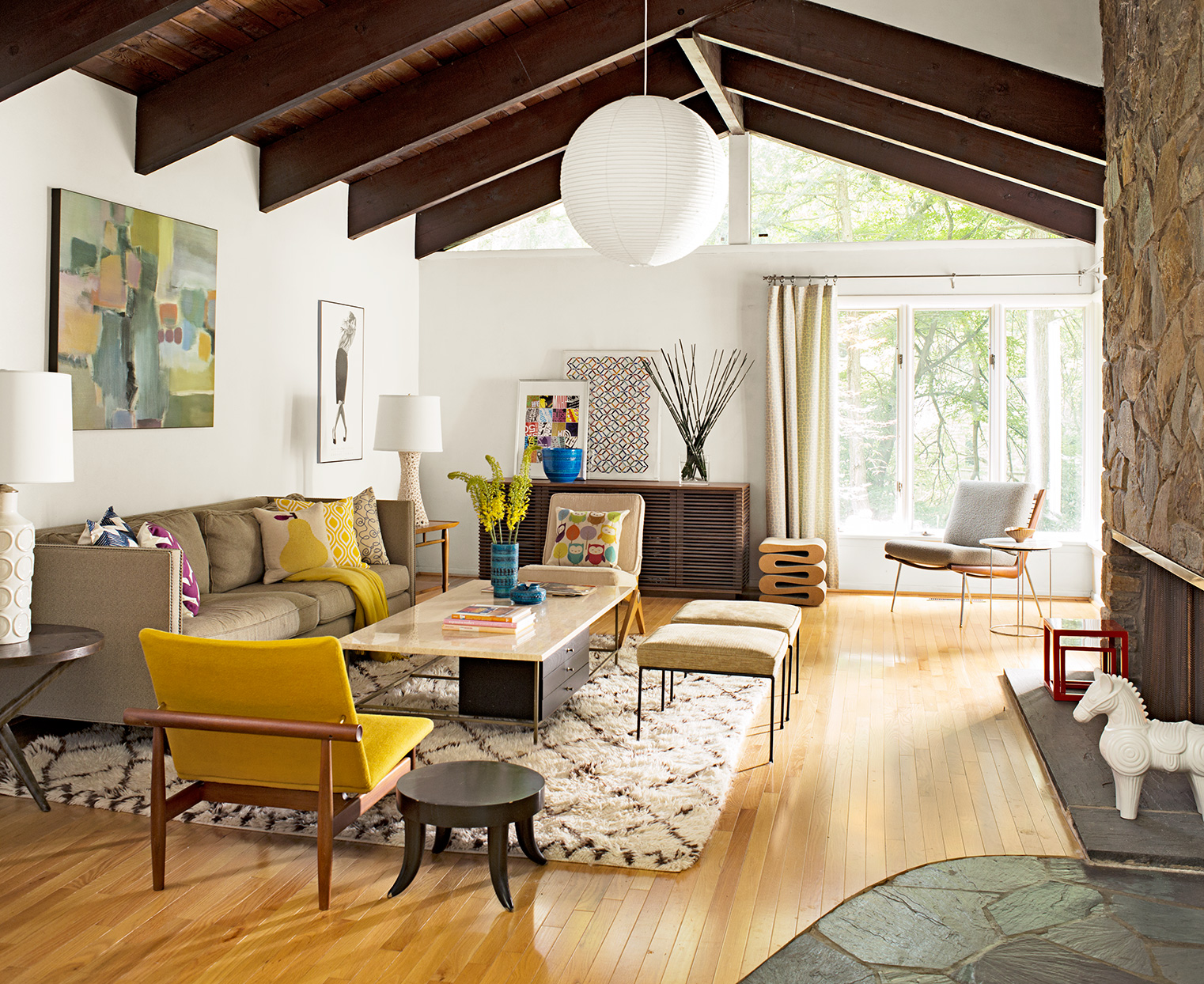 retro living room with wooden rafters