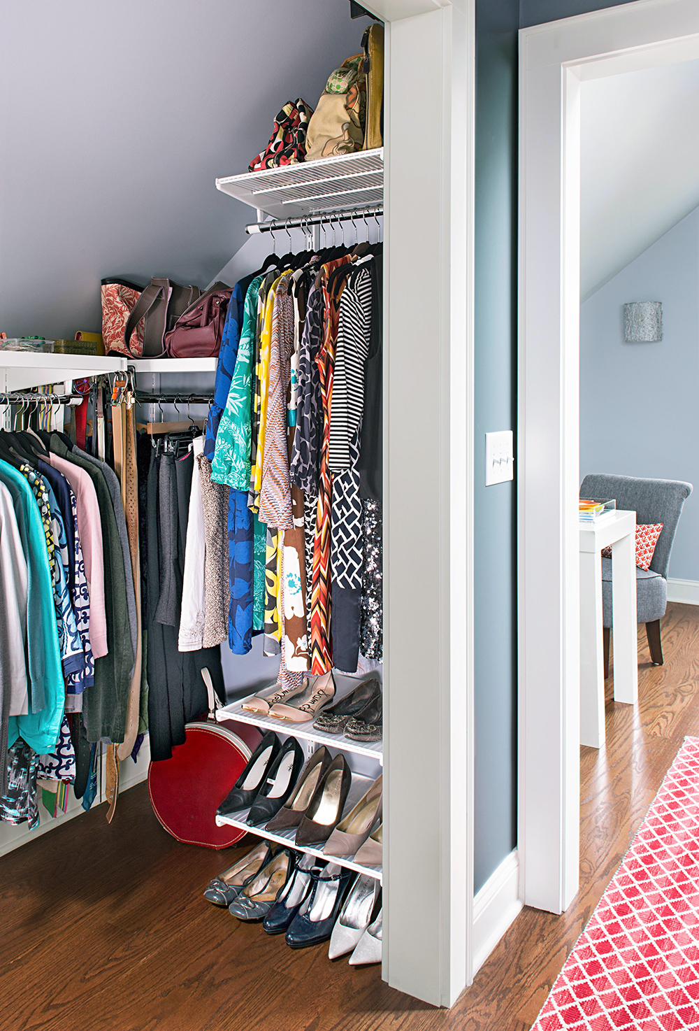 walk in closet storage space clothing and shoes