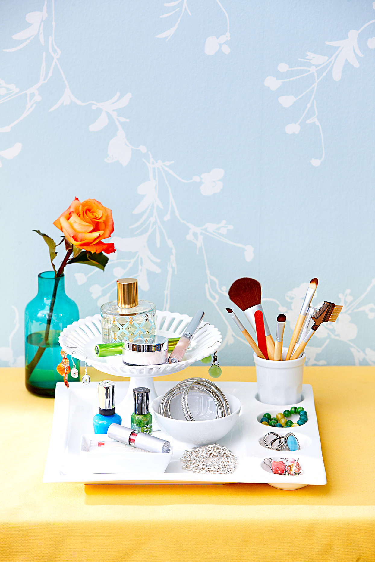 White tray with toiletry items