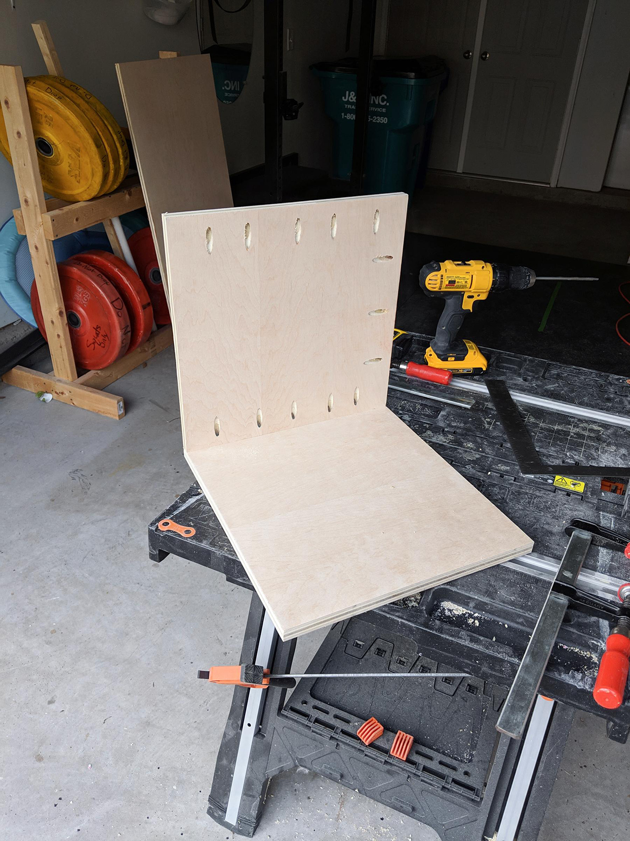 wooden boards for cat house forming right angle