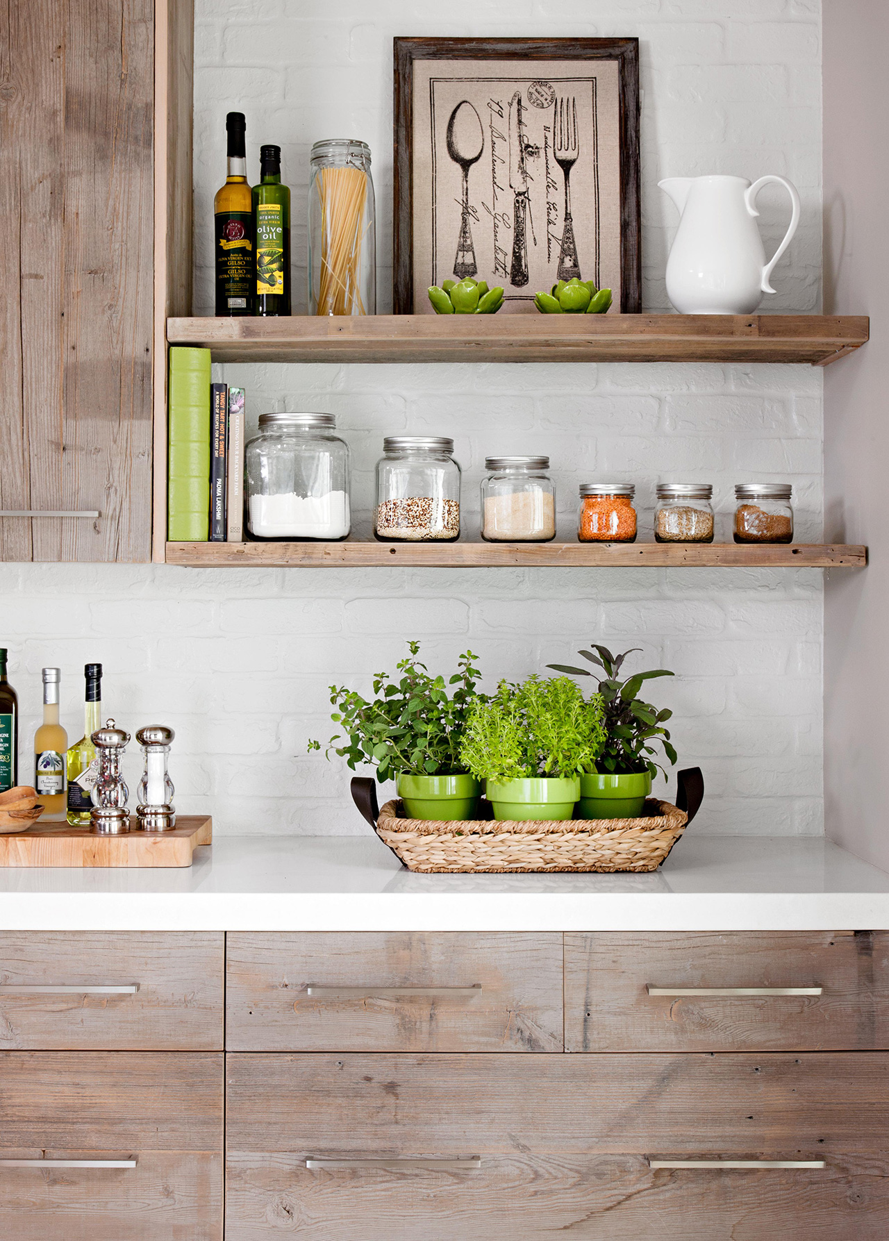 wooden shelving and cabinets home decor