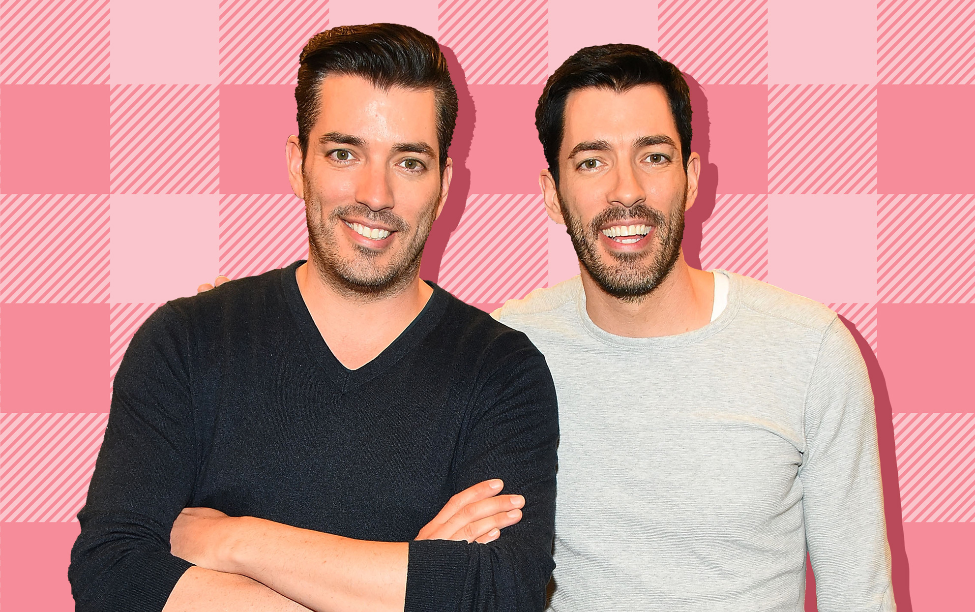 The Property Brothers on a pink patterned background