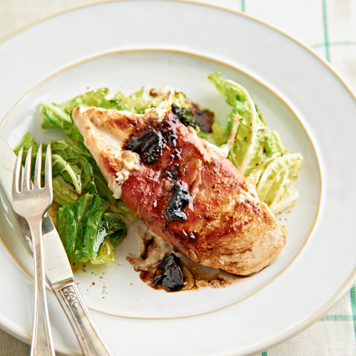 pancetta-wrapped chicken with glazed date sauce
