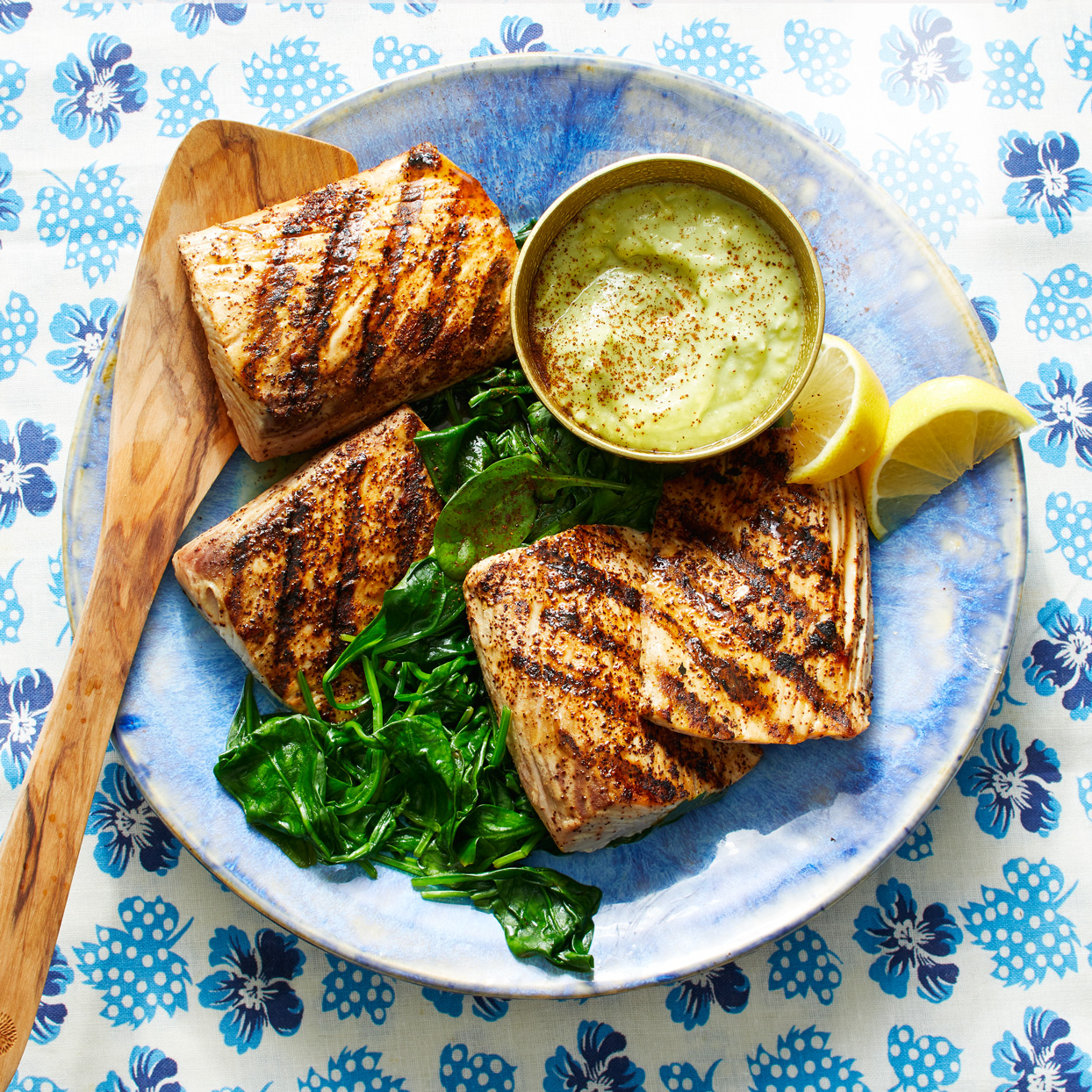 pan-grilled mahi mahi with avocado sauce