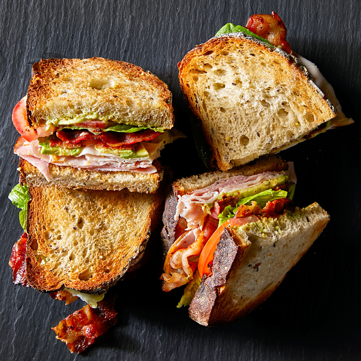 avocado-blt club sandwiches