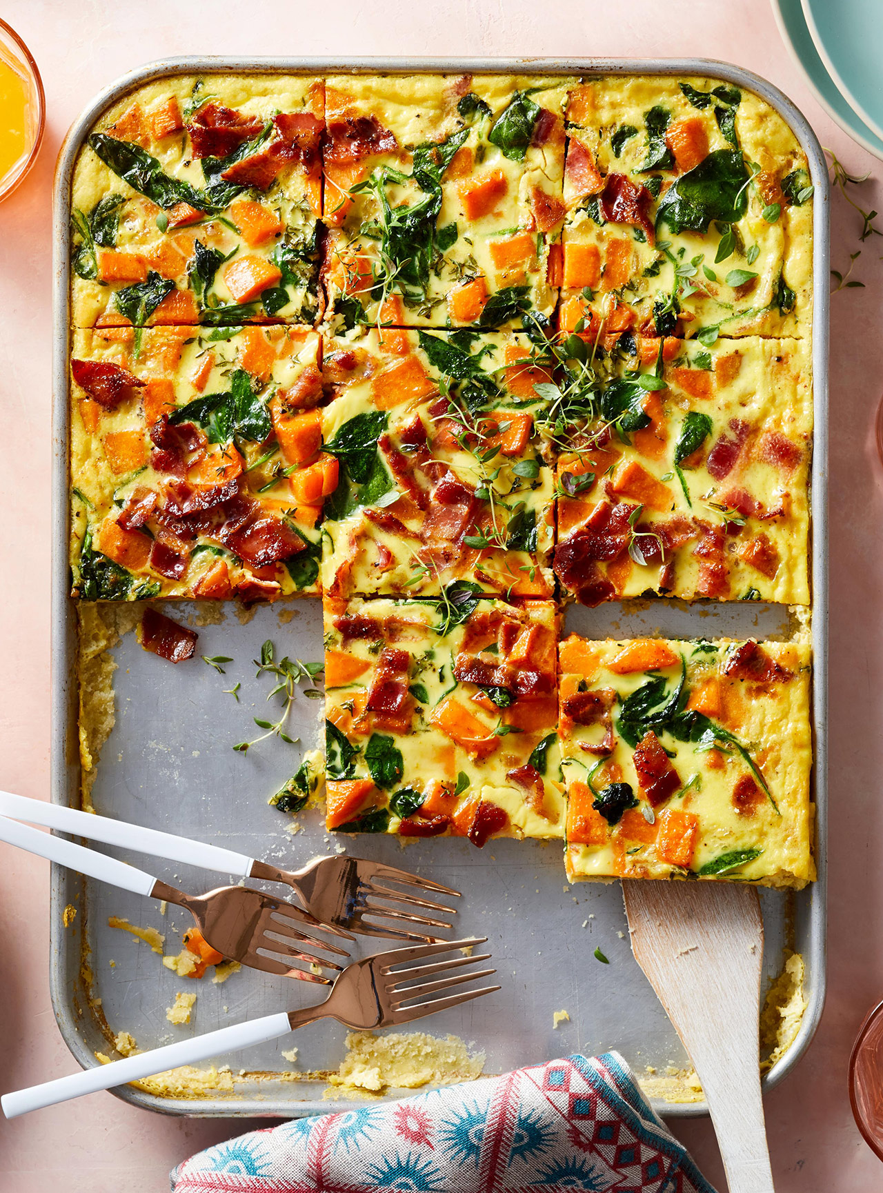 Spinach and Sweet Potato Sheet-Pan Quiche