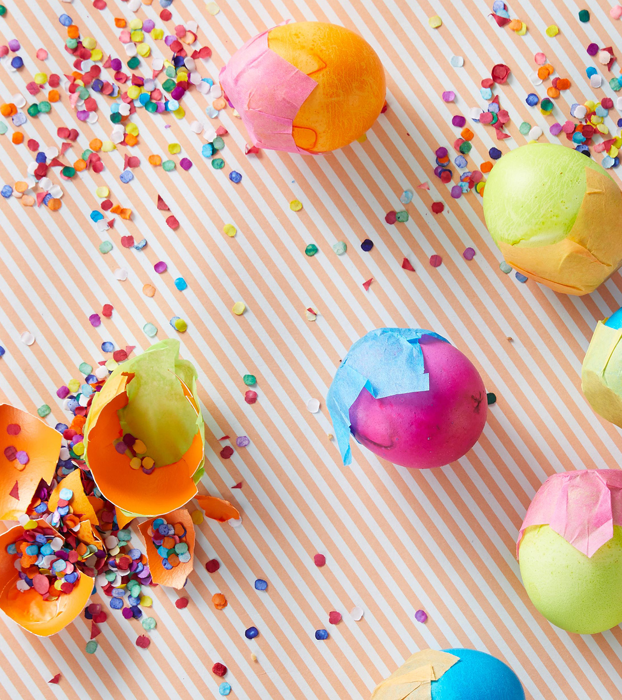 confetti filled eater eggs with tissue paper covers