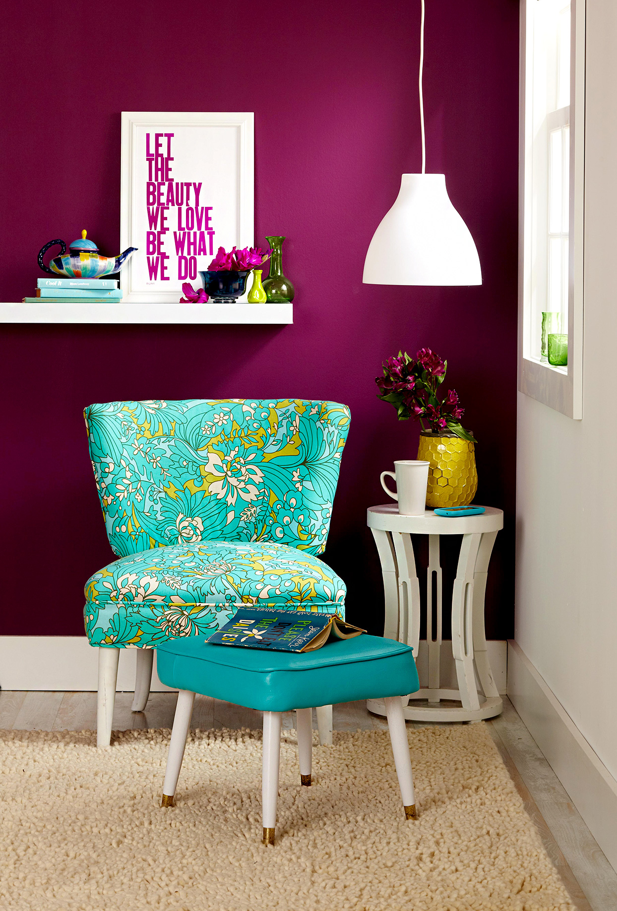 Corner space with upholstered chair