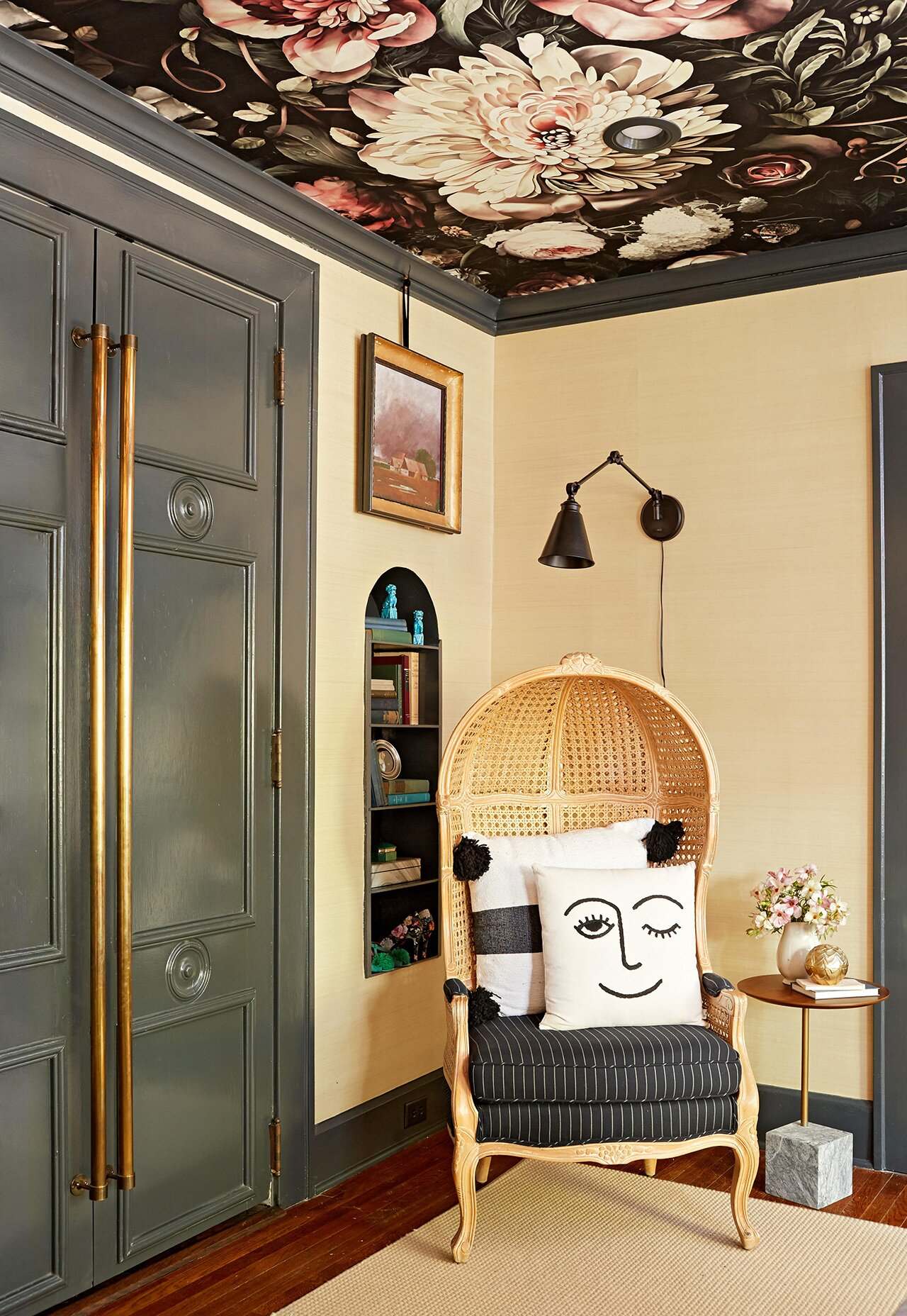 decorative caned chair in entryway