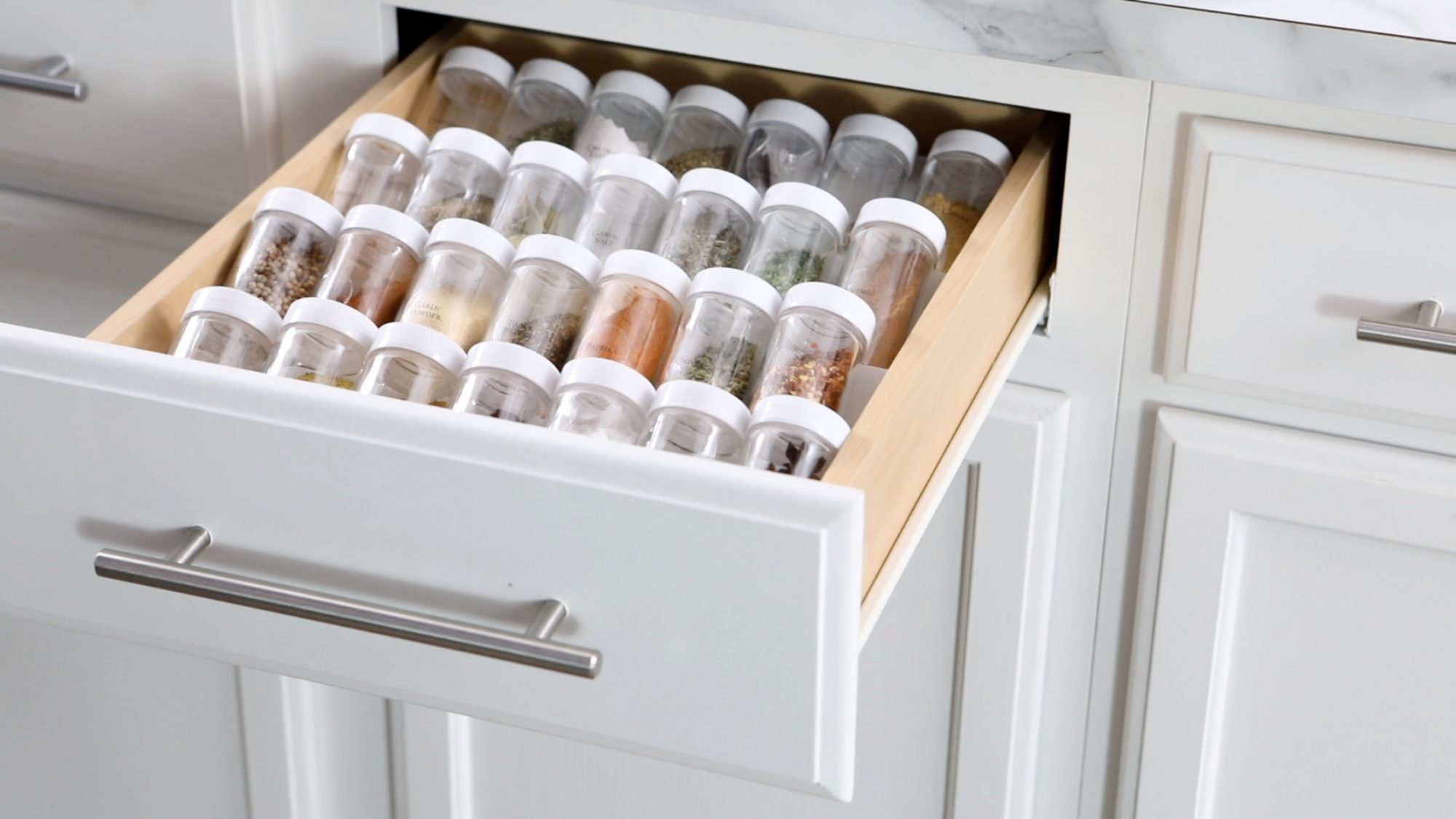 diy spice rack in drawer with spices