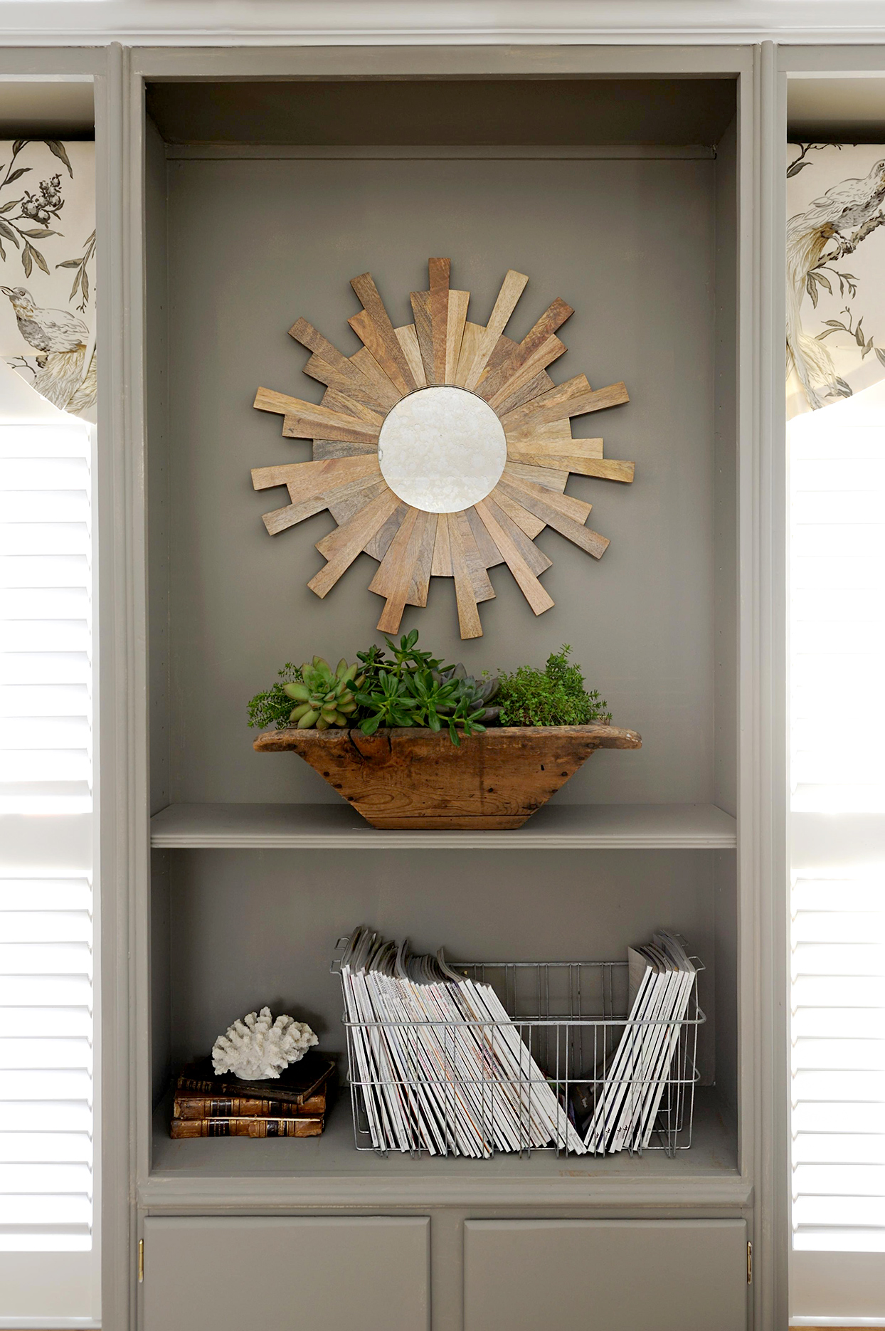 Gray shelf with wire organizer