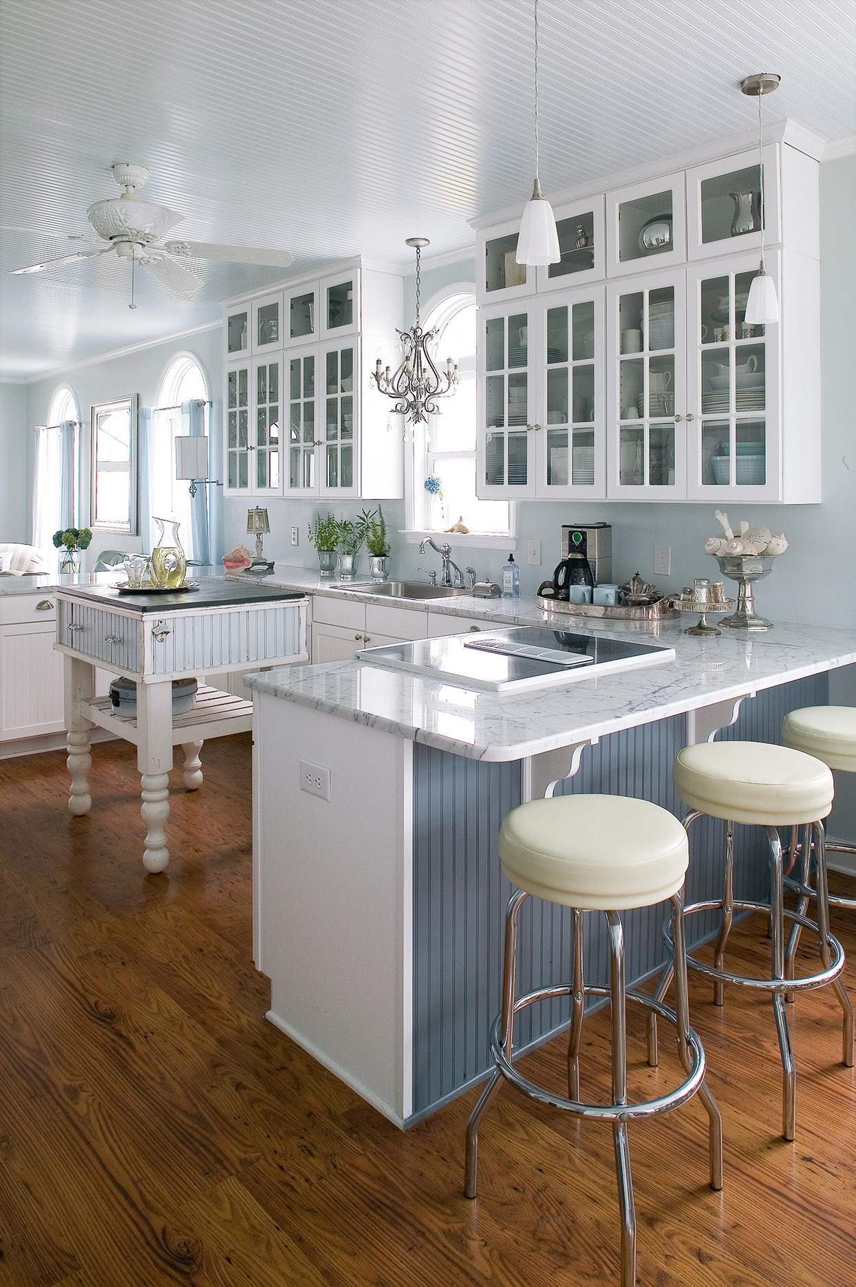 Kitchen cabinetry marble countertops