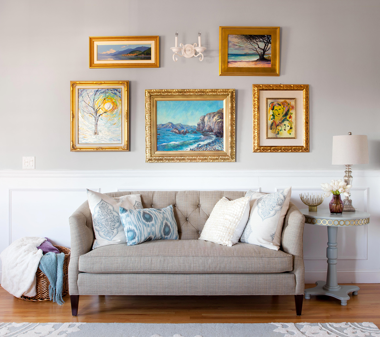 living room with gold framed artwork
