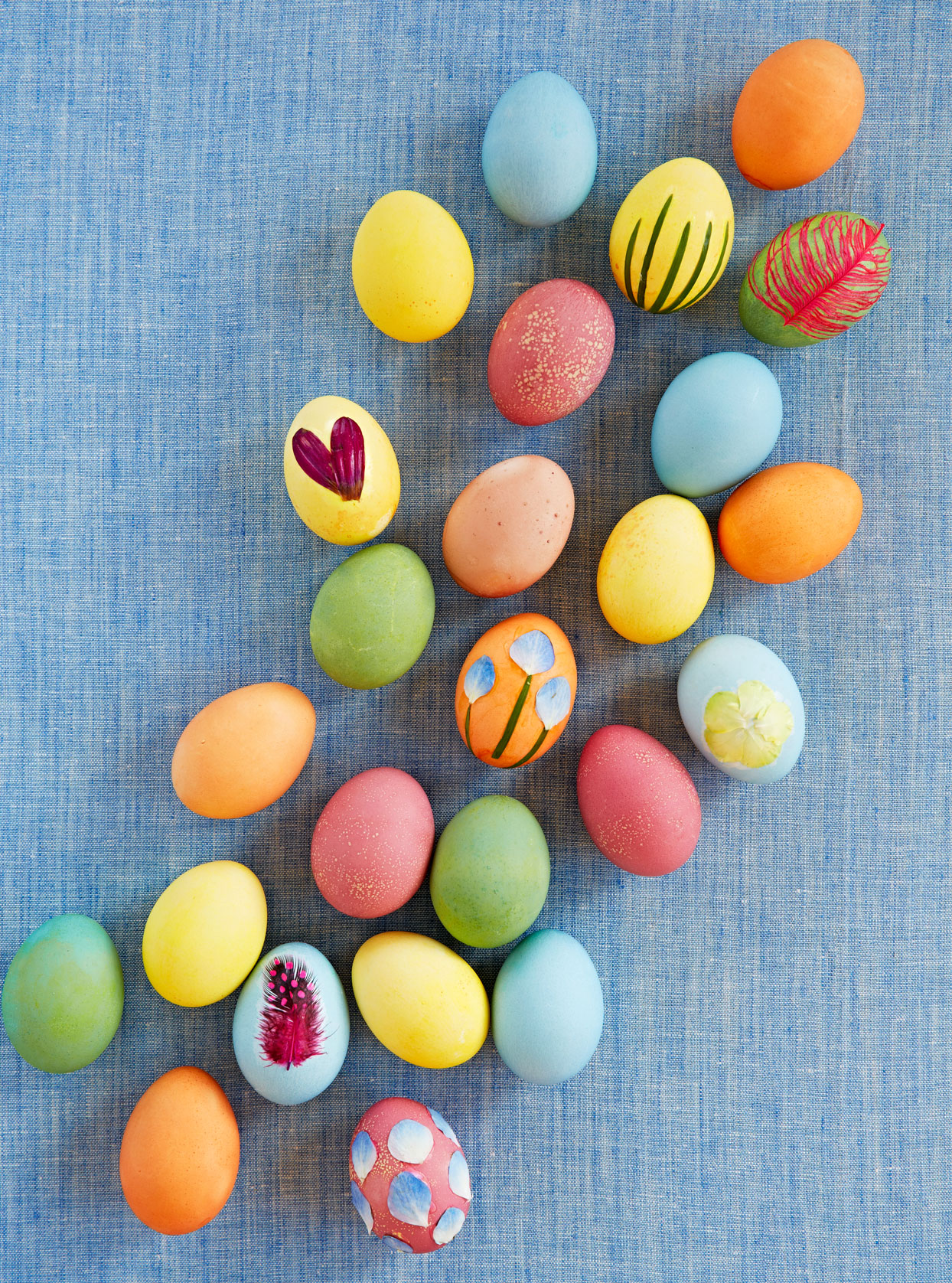 natural elements feather easter eggs