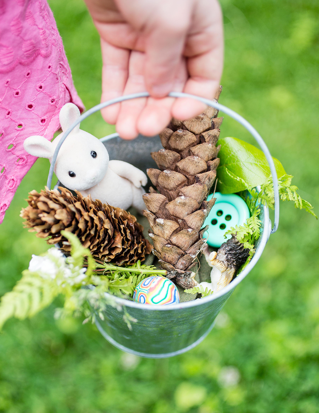 outdoors easter pale with pinecones