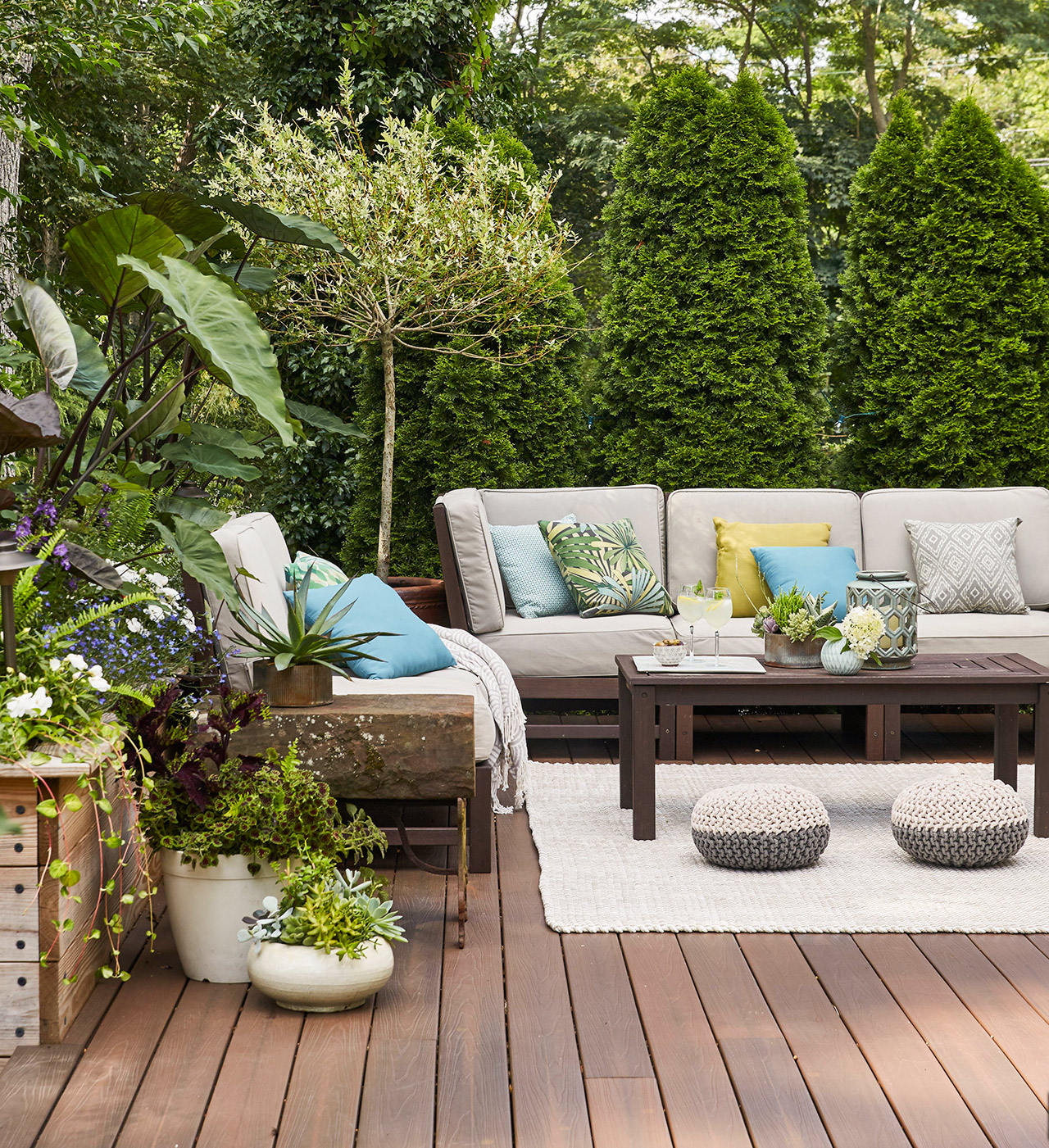 outdoor furniture sitting area of deck tree privacy
