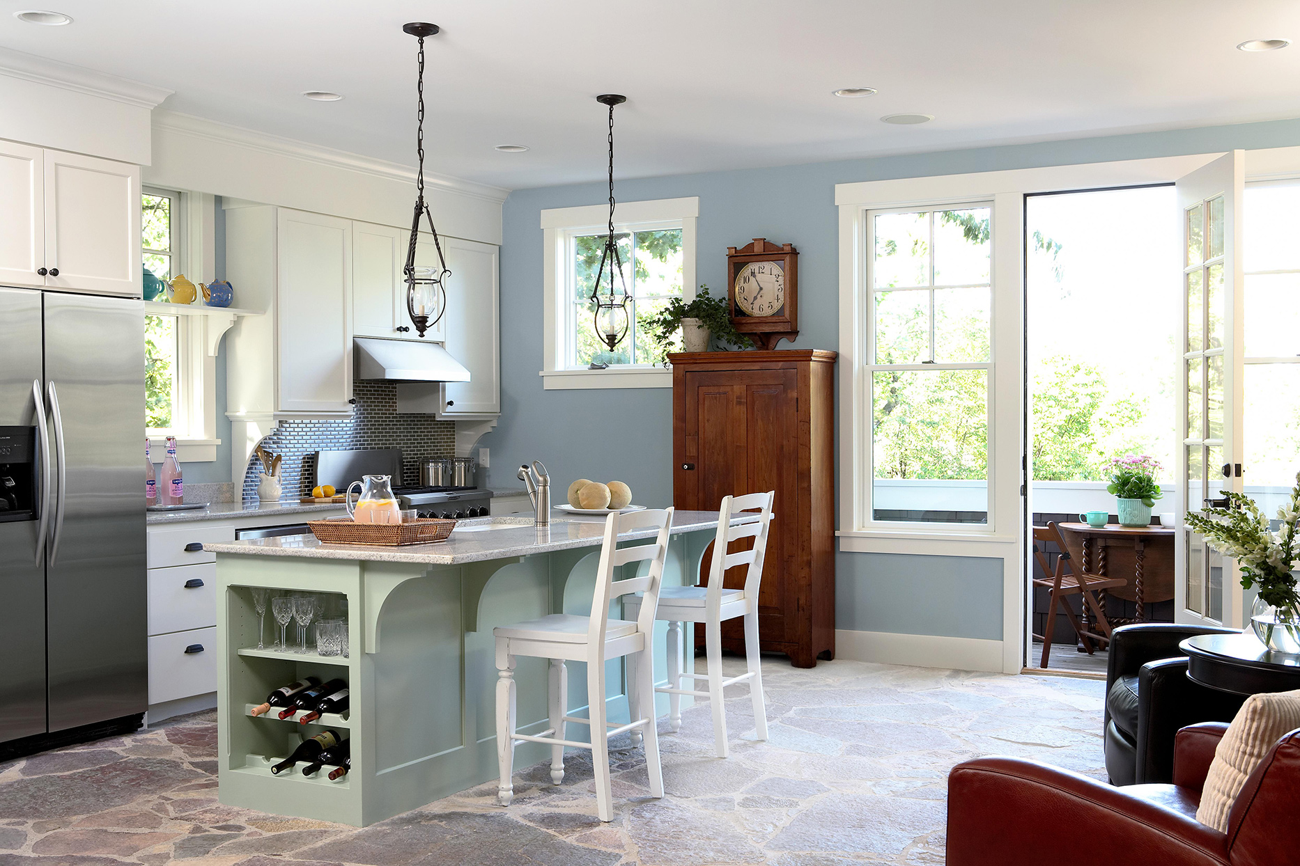 pastel blue, teal, and white kitchen