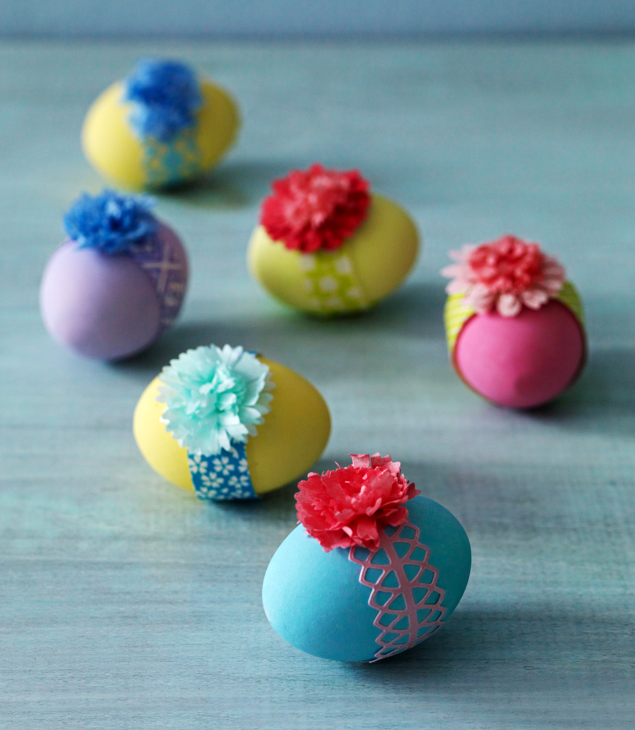 pretty ribbon easter eggs