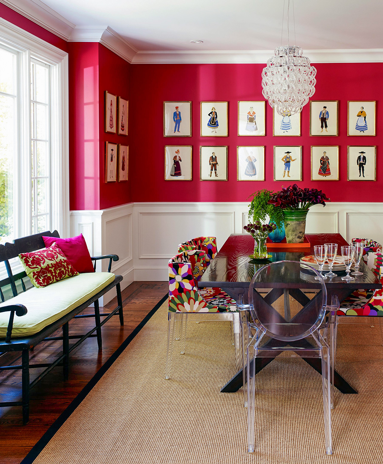 red dining room artistic decor