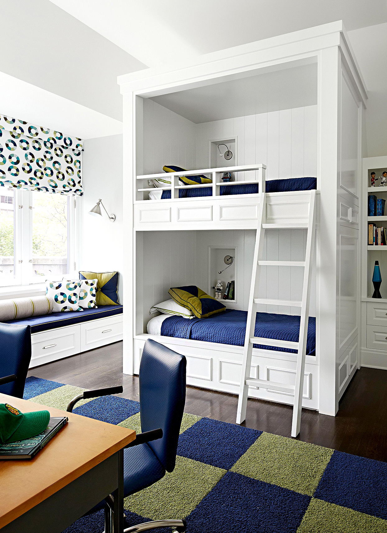 White bunk bed with ladder