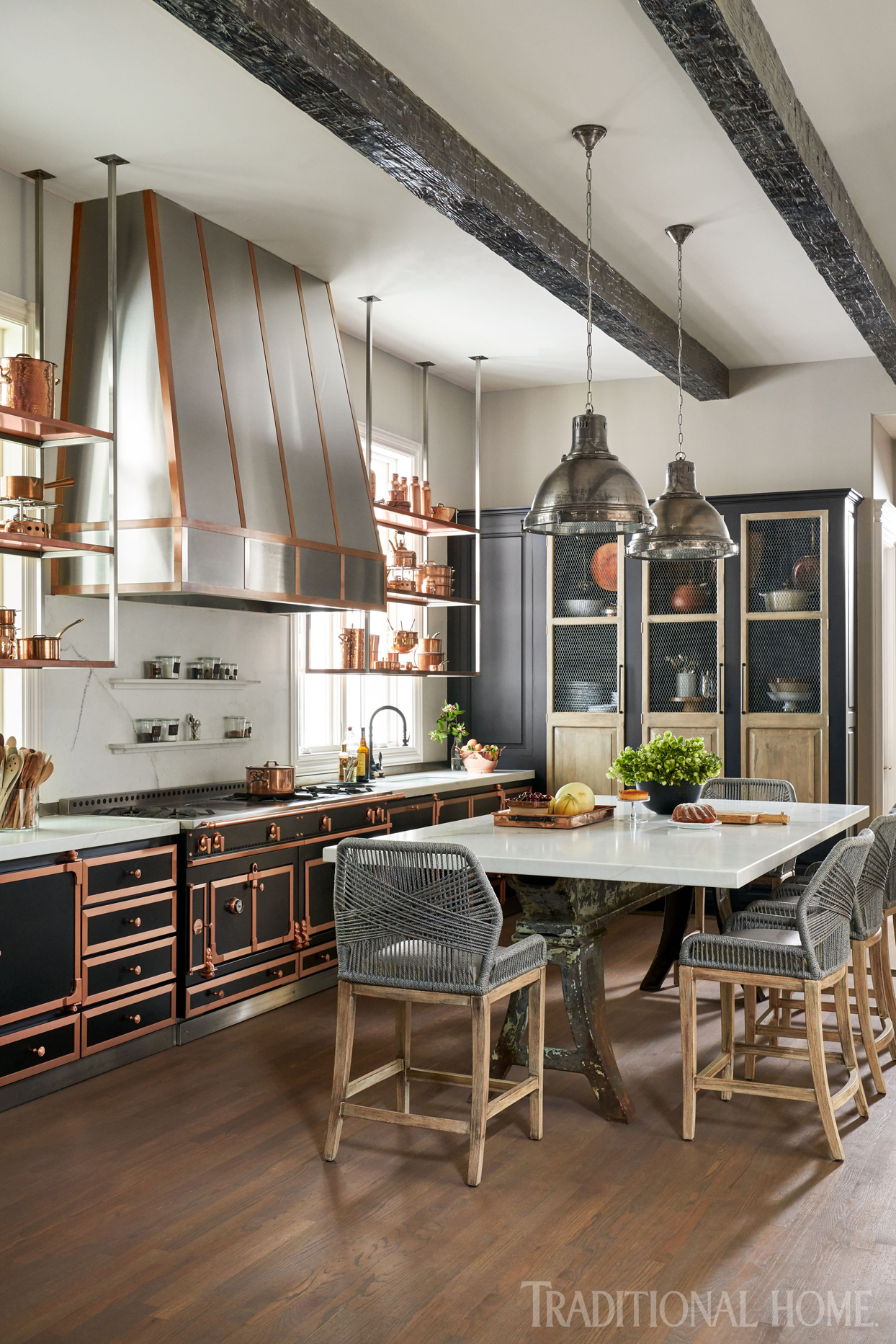 copper trimmed cabinets and hood
