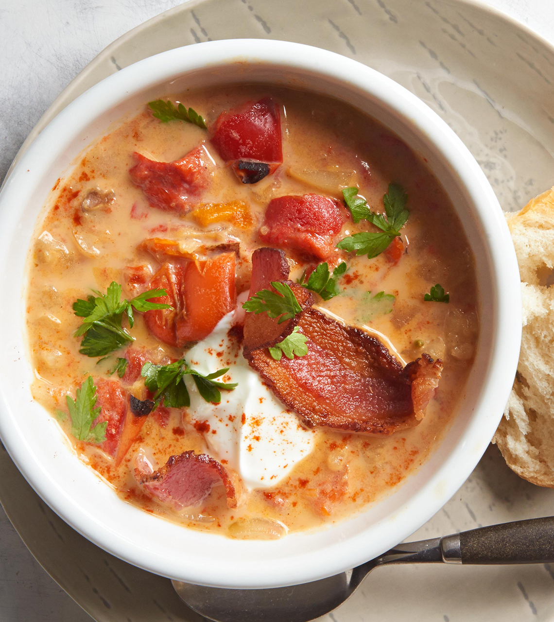 Charred Sweet Pepper Potato Chowder