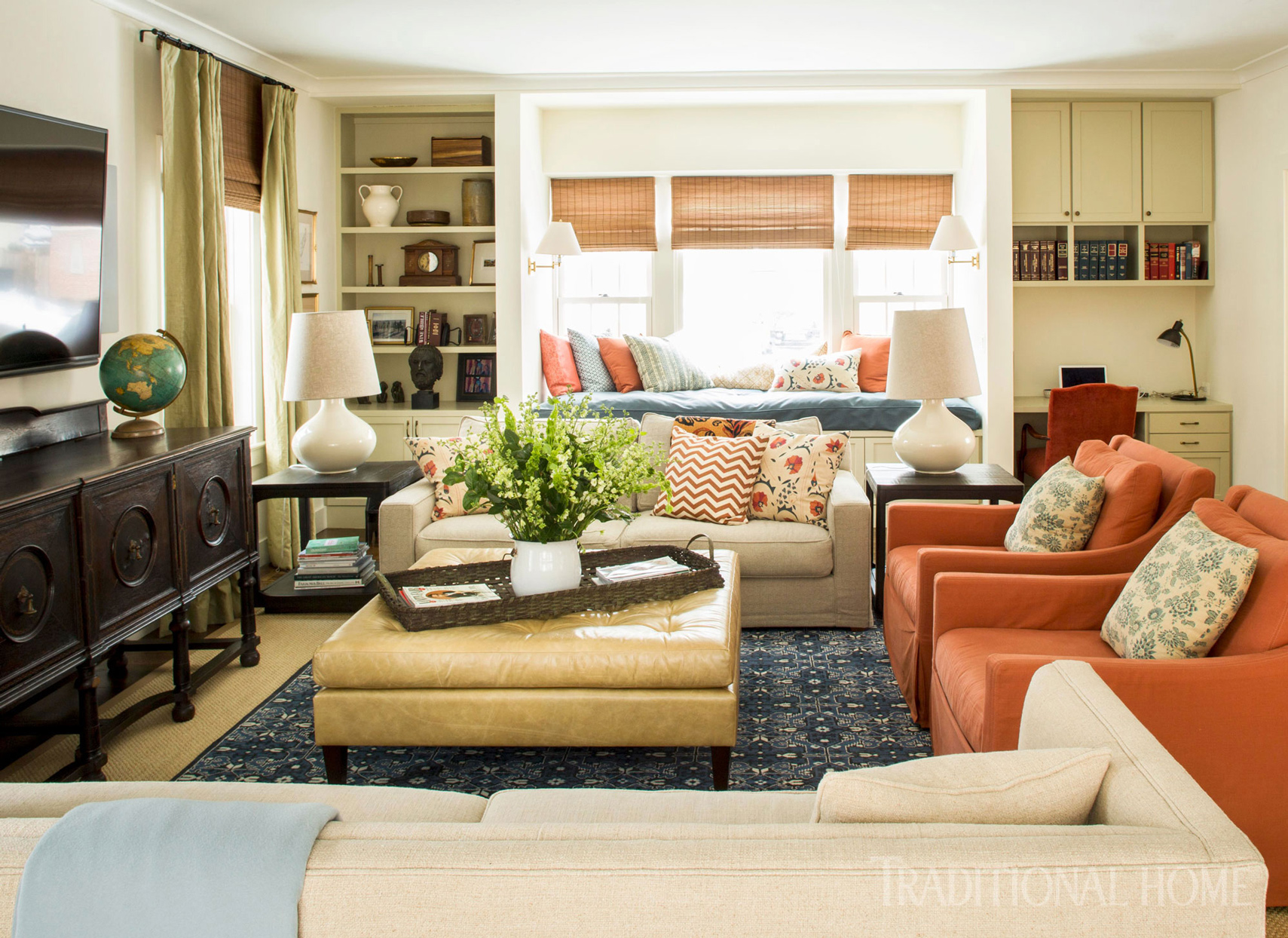 colorful family room with desk