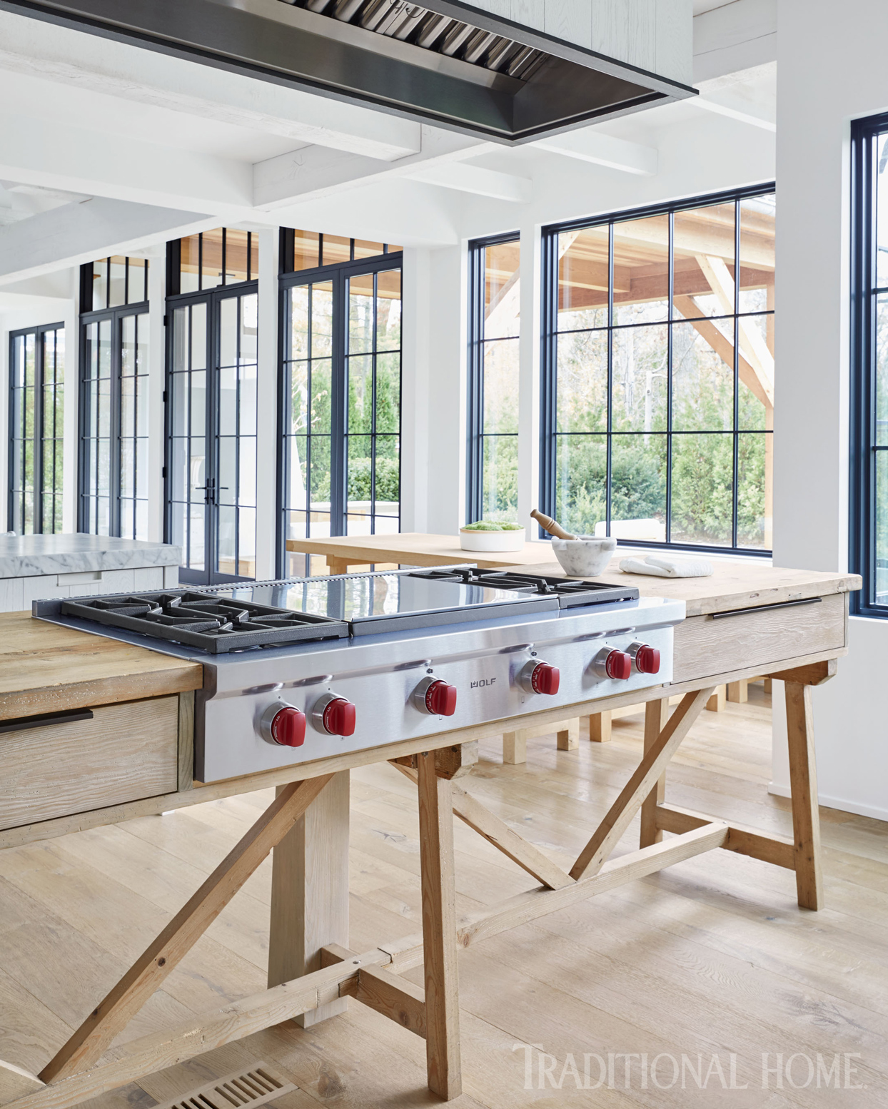 cooktop on reclaimed pine farm table