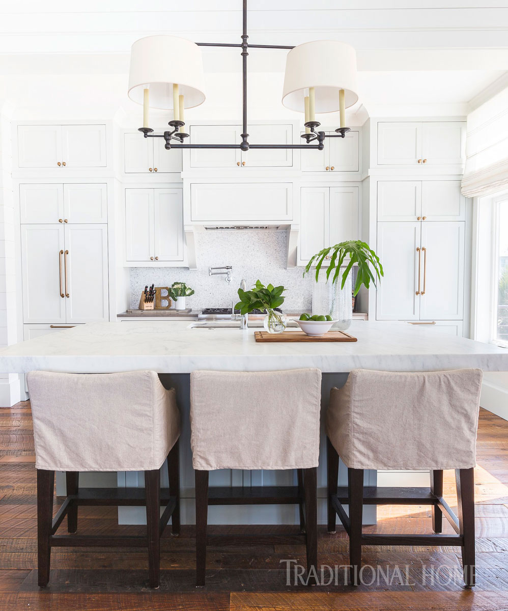 dining area with white marble countertop