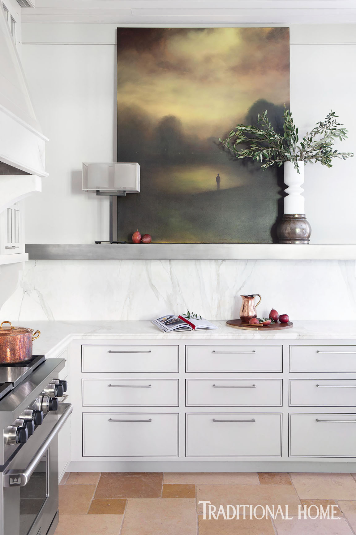 kitchen with landscape painting