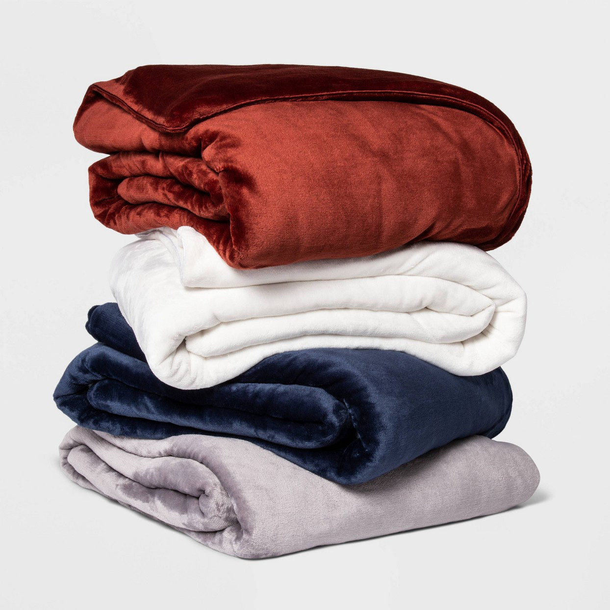 red white blue and gray weighted blankets