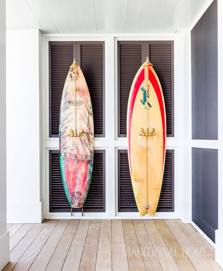outdoor showers made from vintage surfboards