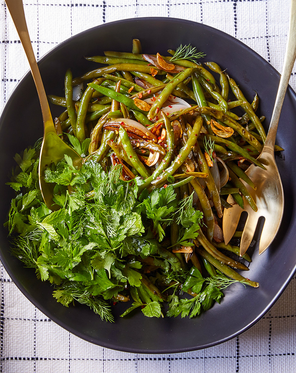 Spicy Green Beans with Herb Salad