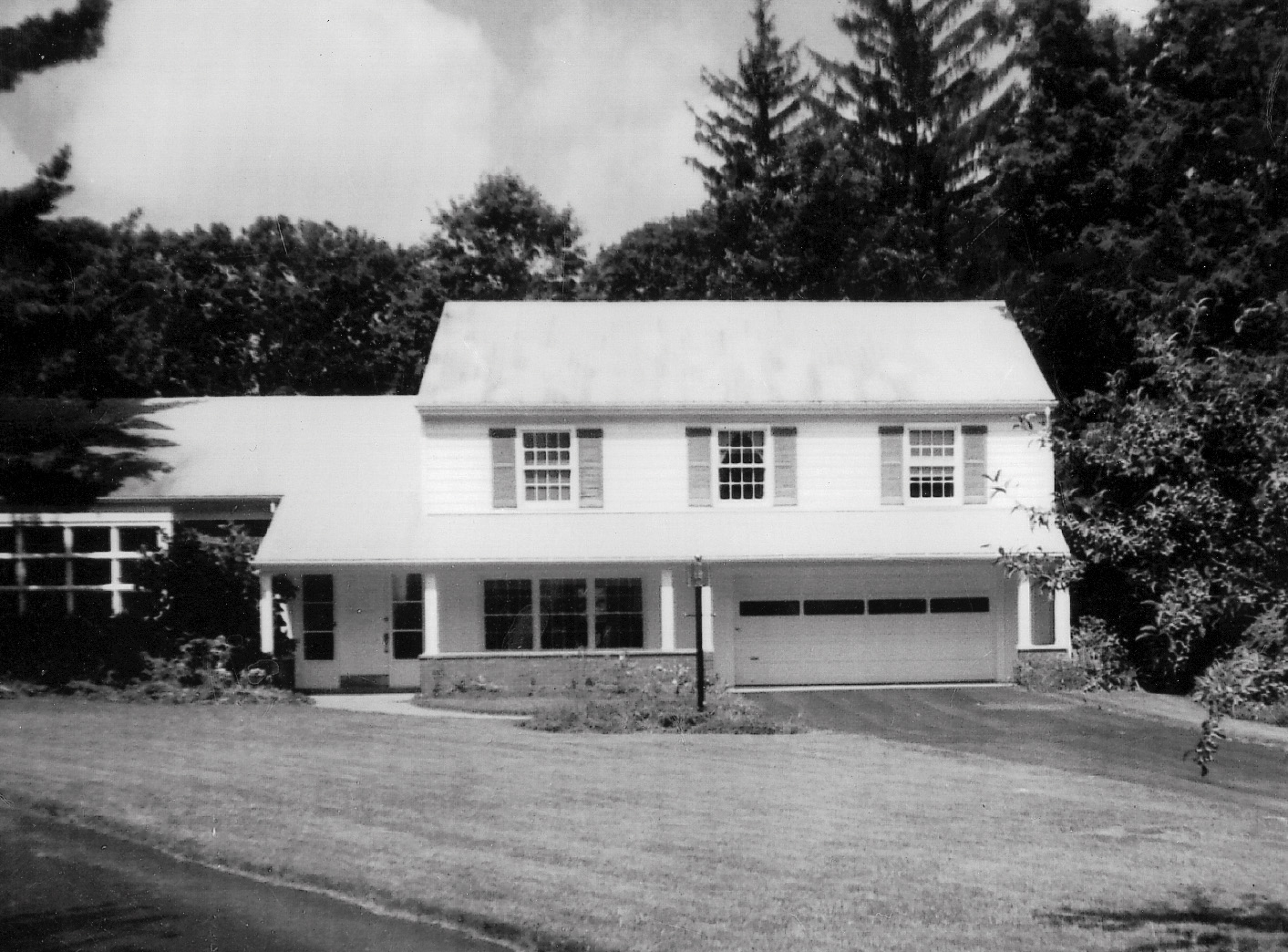 Before photo black and white Dutch Colonial House