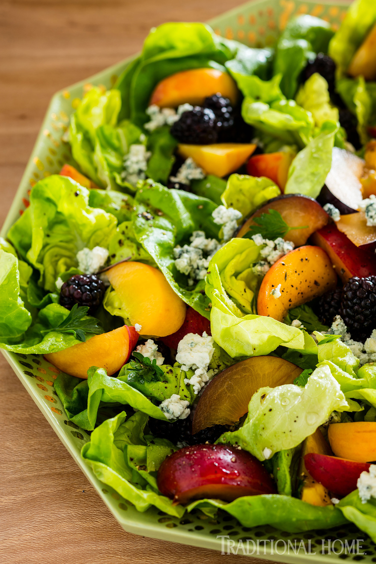 Butter Lettuce Salad with Stone Fruit and Blackberries