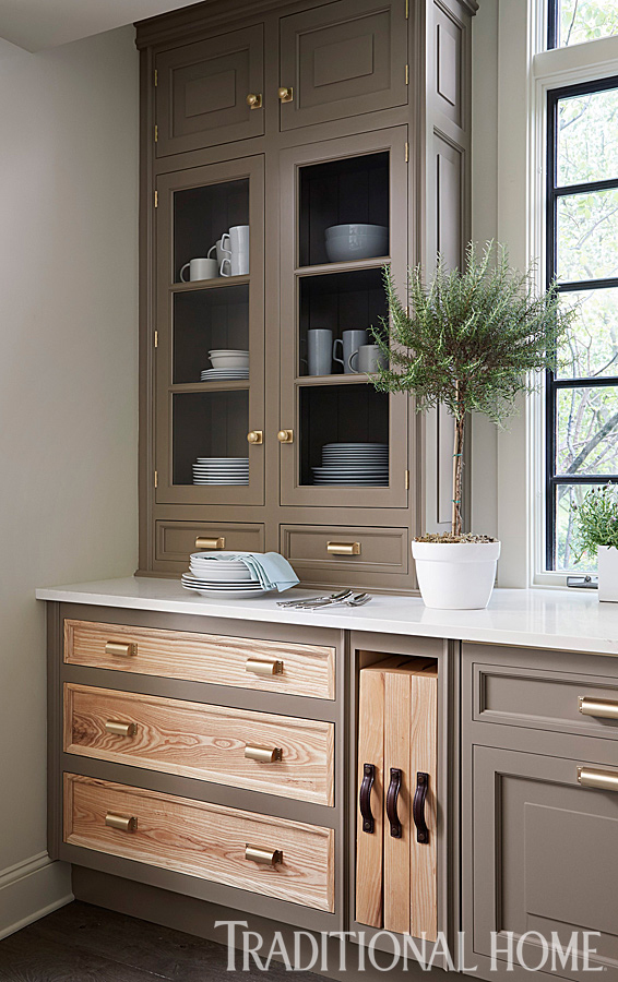 hutch-like cabinet with glass doors
