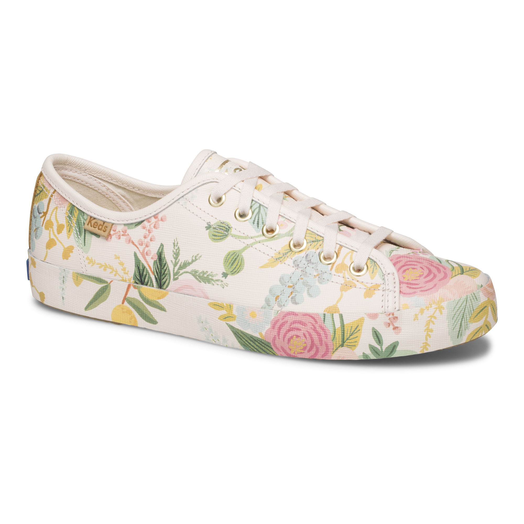 leather white floral shoe