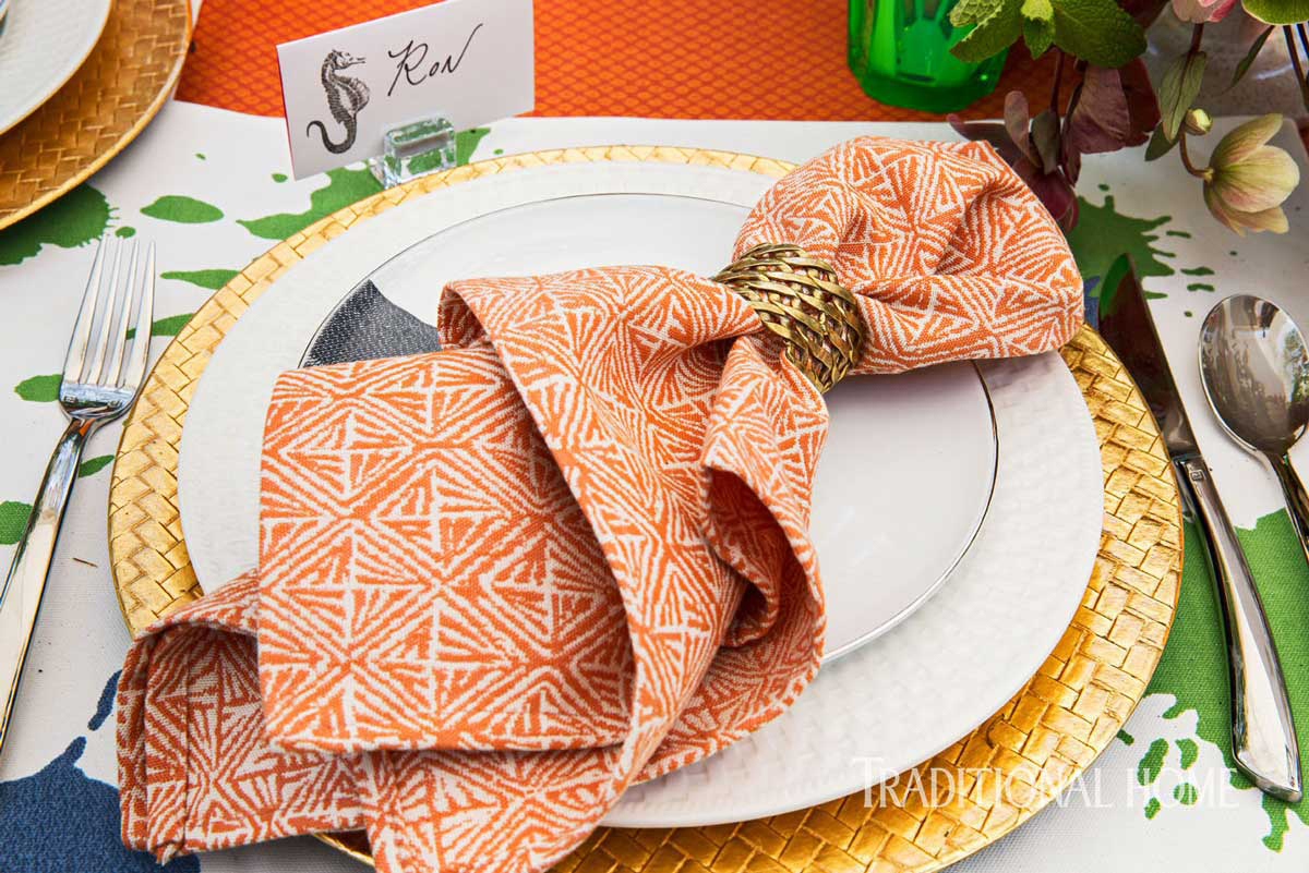 Coral and Gold Place Settings