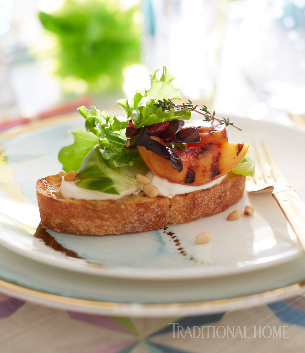 green tomato and grilled peach tartine