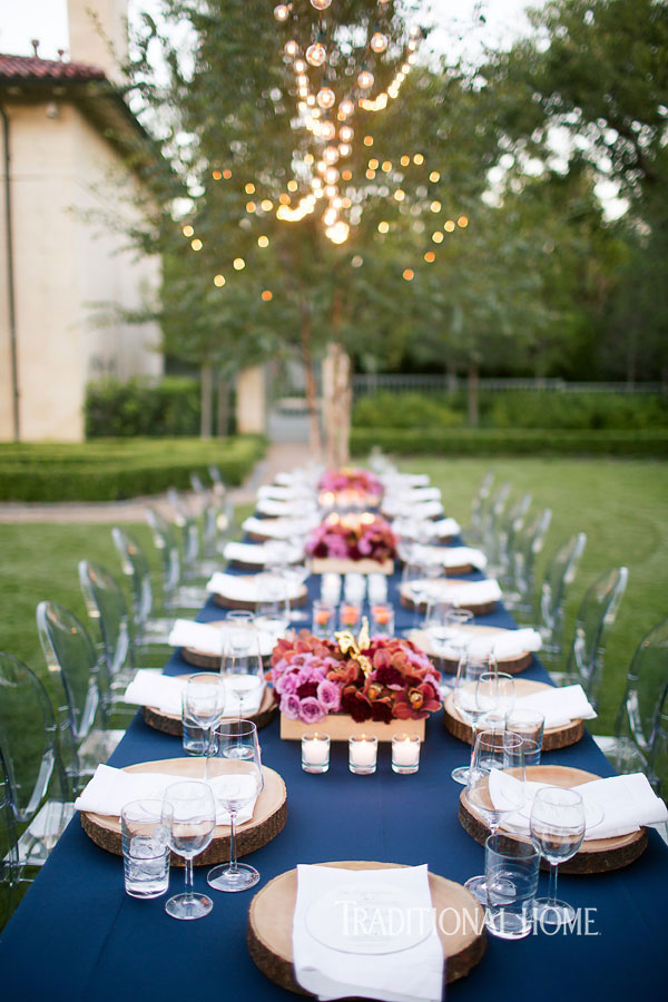 outdoor dinner table with place settings