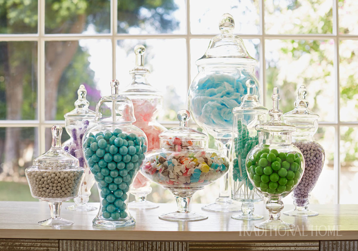 pastel candy in jars