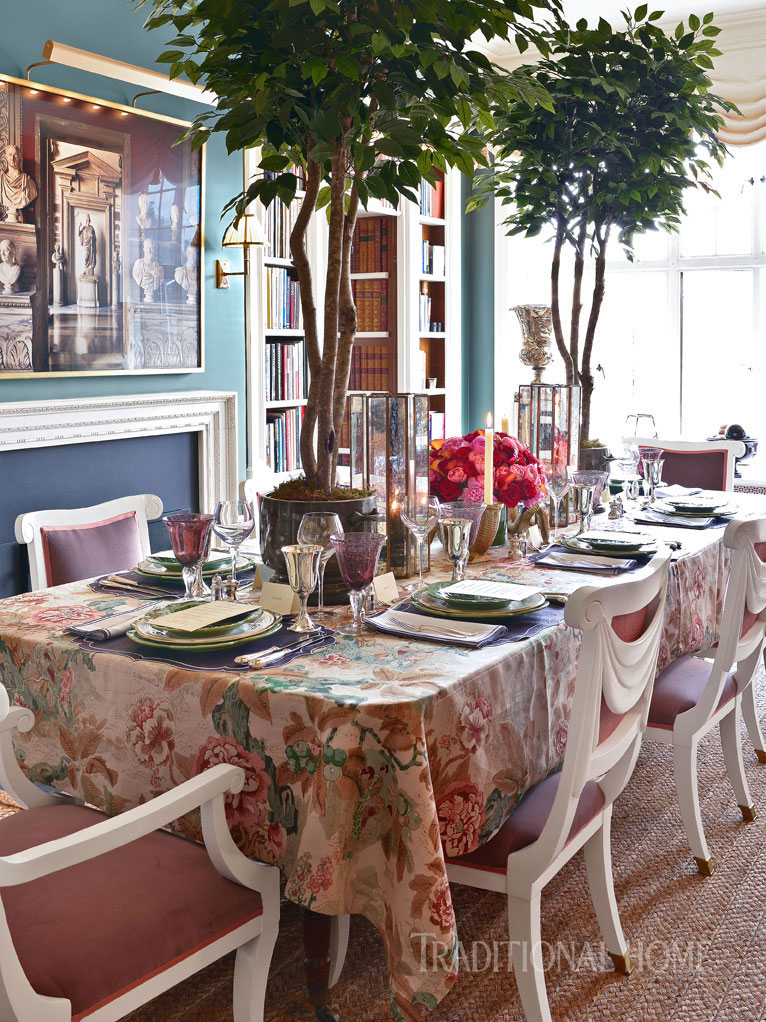 table with chinese lantern linen fabric
