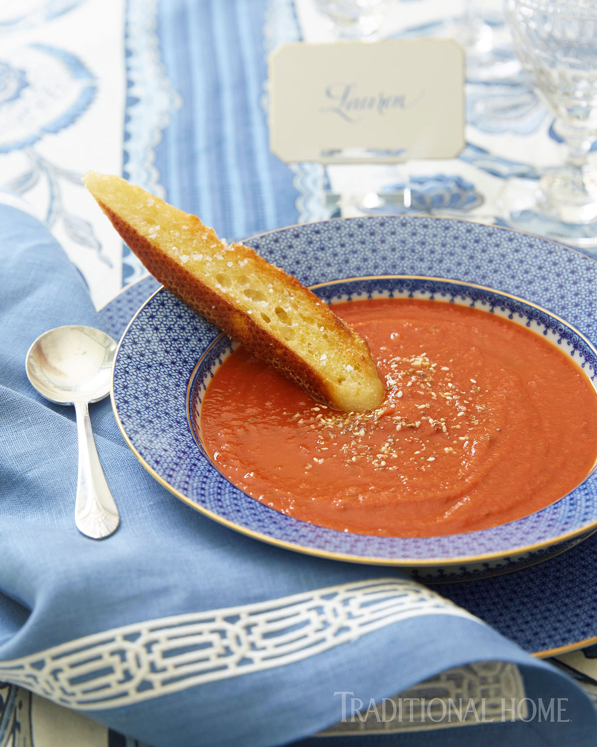 tomato and cipollini onion soup with dukkah spice blend