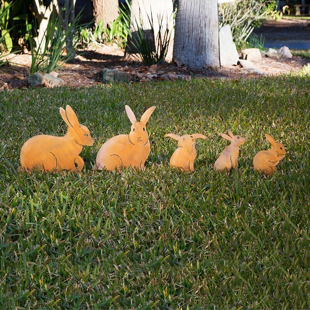 set of 5 bunny garden sculptures