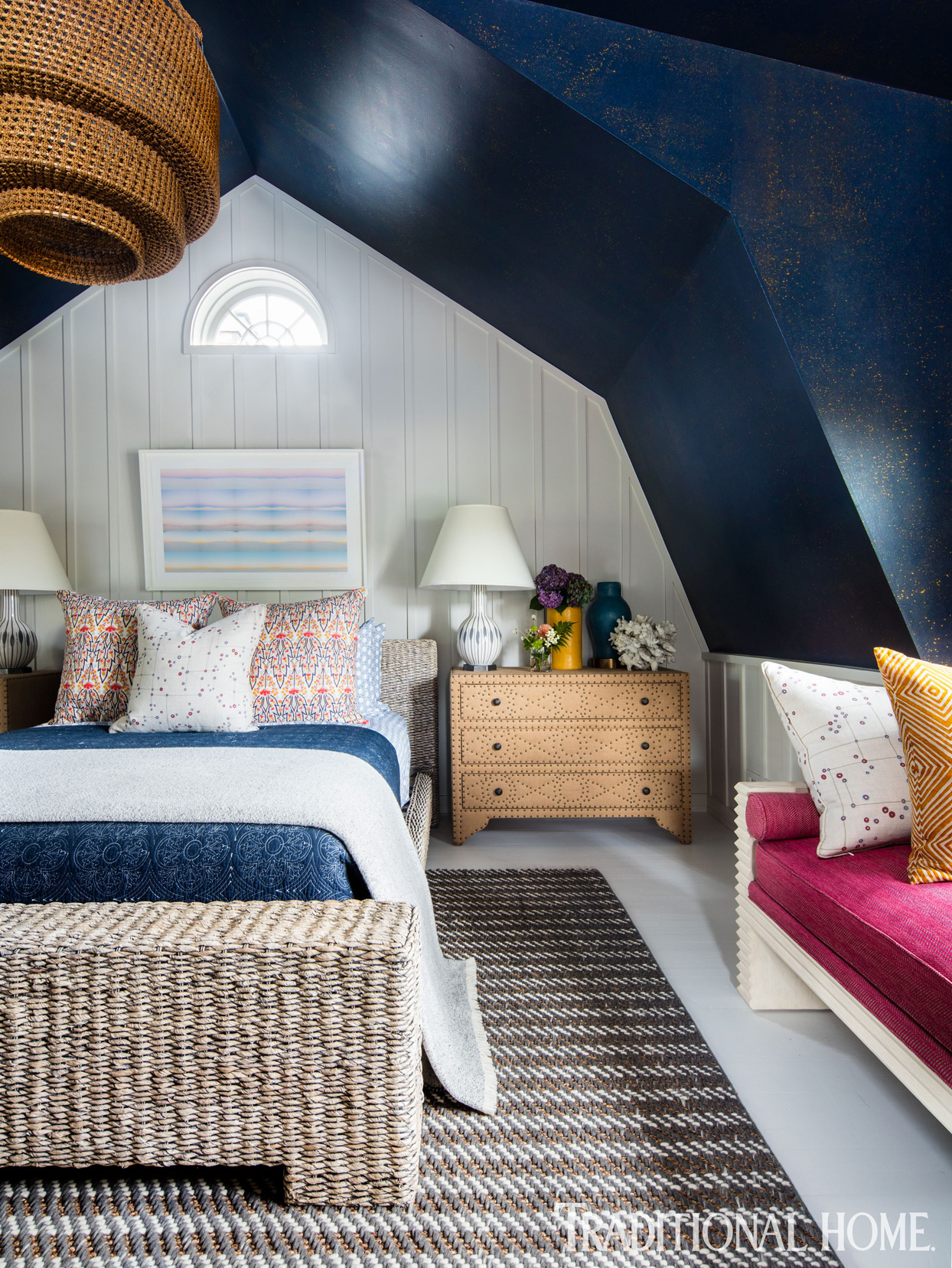 bedroom with sloping blue ceiling