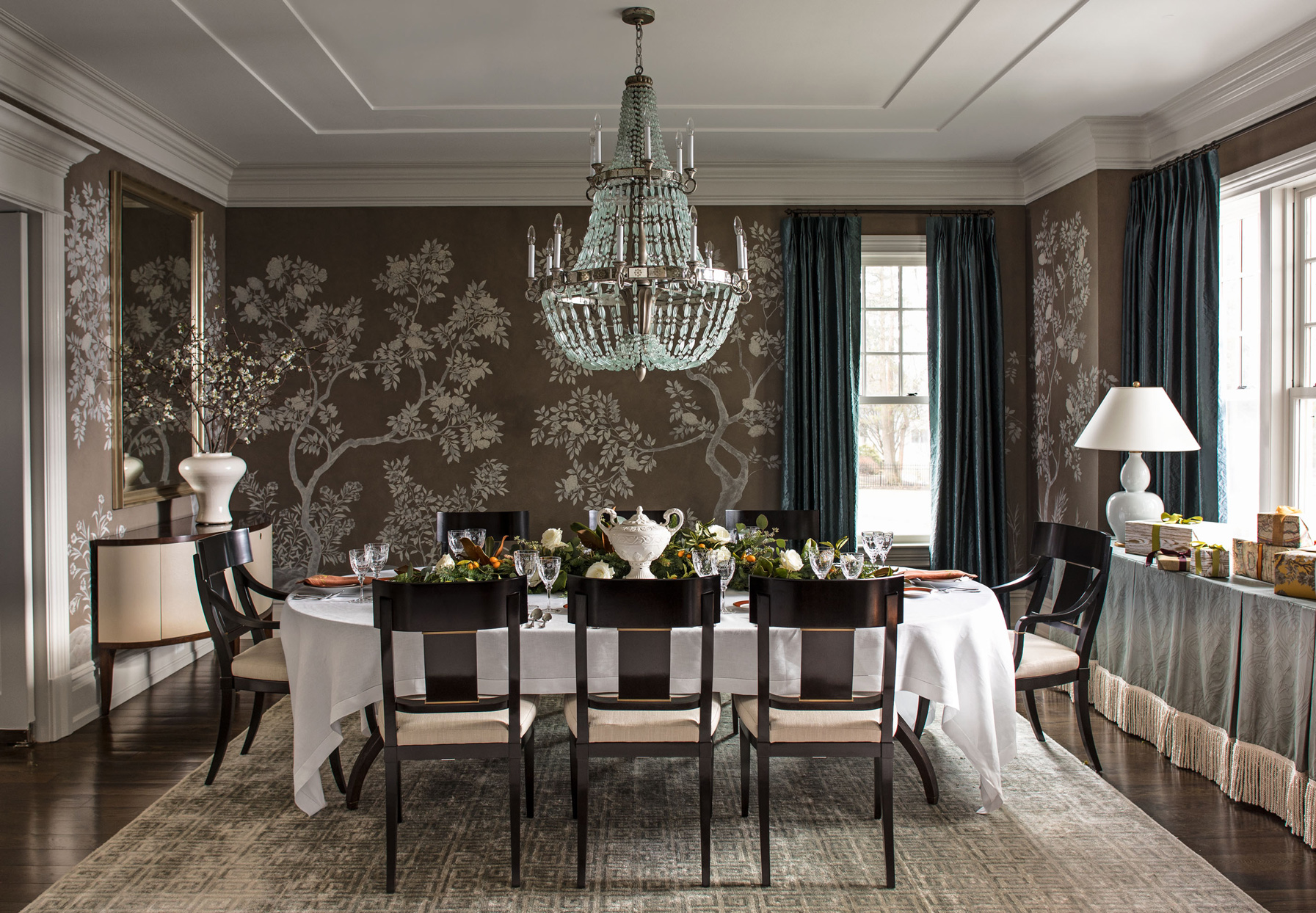 dining room with tree pattern wallpaper