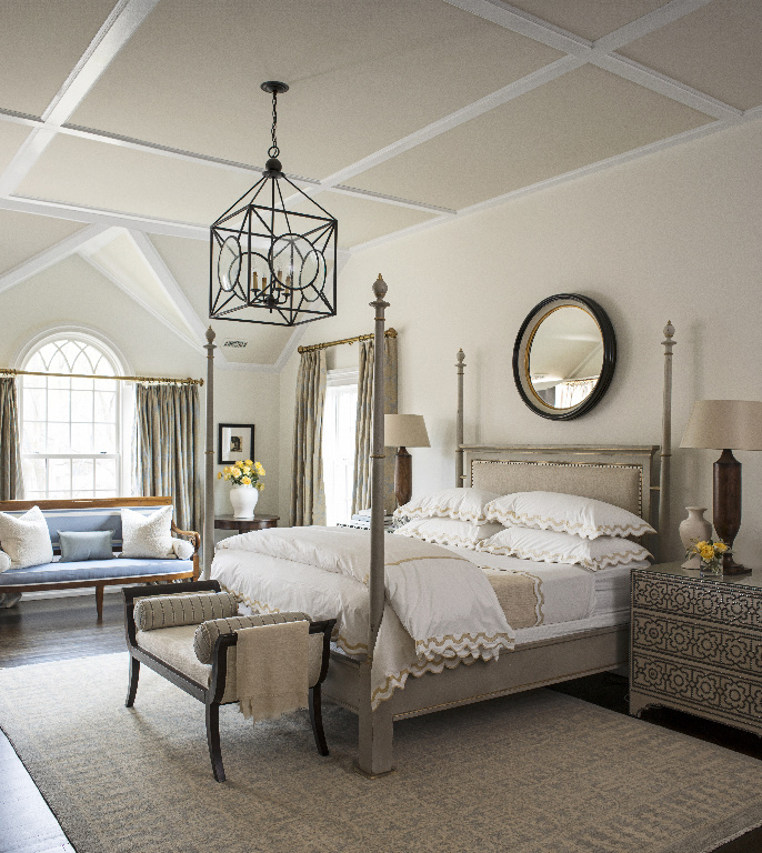 master bedroom with gabled ceiling