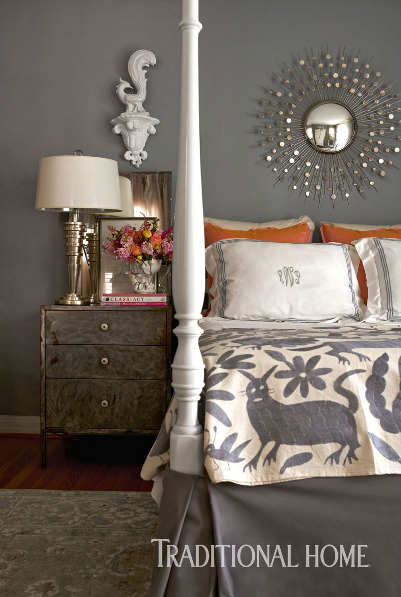 photograph of versailles above nightstand